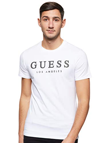 Guess Cn SS Named tee Camiseta, Bianco, XL para Hombre