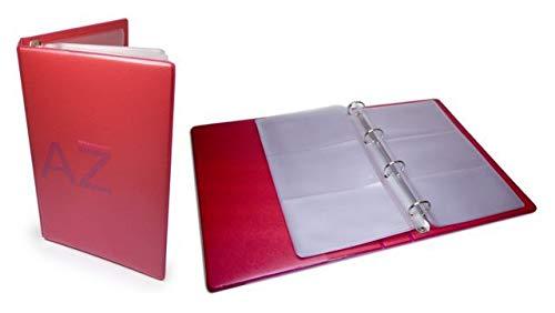APLI 12158-Tarjetero A5 de PVC con anillas rojo 60 tarjetas