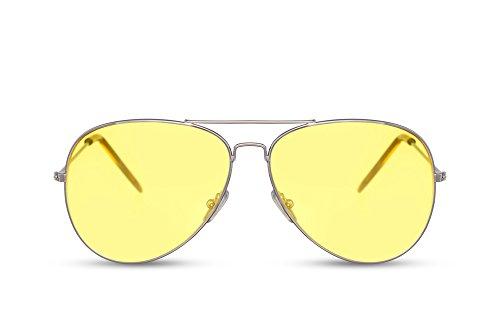 Cheapass Sonnenbrille Piloten-Brille Silber Gelb Getönt-e Linsen UV-400 Cat-2 Festival-Brille Damen Frauen
