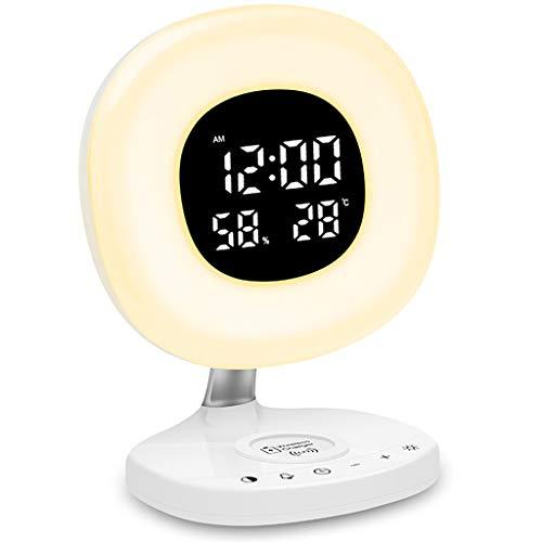 PBTRM Wake Up Light Despertador Luz, con Reloj Despertador Digital, Carga Inalámbrica 10 W, Despertador Simulado Al Amanecer, Botón Táctil, Pantalla Humedad Y Temperatura, Snooze
