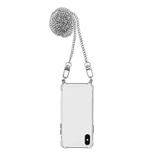 iPhone | Funda antigolpes | Airbag | Transparente Crystal Clear | Funda protectora con cadena cadena para teléfono móvil (iPhone XR, Plata)