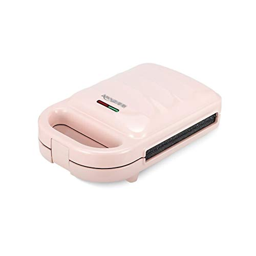 Smzj Sandwichera Grill Gofrera Home,Mini Máquina de Panini Horno a PresióN CalefaccióN de Doble Cara Tostadora Relleno Profundo/rosado/A
