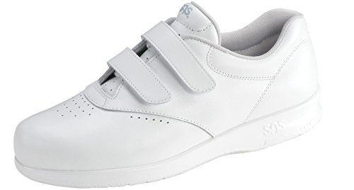 SAS Women's Me Too Velcro Strap Leather Walking Comfort Shoes (10 (W) Wide, White)