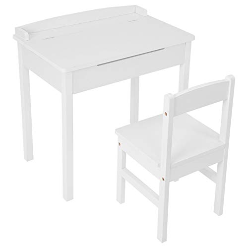 Kids Table and Chair Set, Children Activity Art Desk White Drawing and Painting Table Wooden Kids Learning Furniture with Storage for Read
