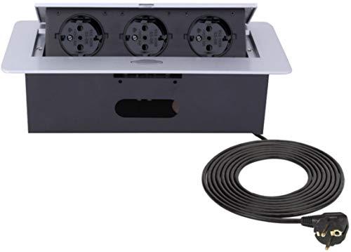Versenkbare Einbausteckdose 3-fach Aluminium Spritzguss Softöffnung Tischsteckdosenleiste