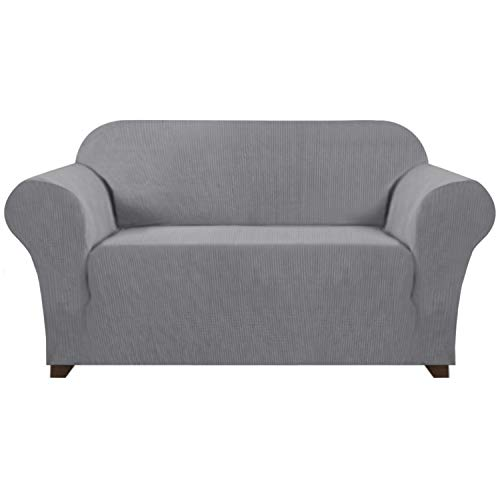 Loveseat Slipcovers for 2 Cushion Couch 1 Piece Furniture Protector/Cover with Elastic Bottom Anti-Slip Foam Rich Textured Lycra High Spandex Small Checks Pattern (Loveseat, Charcoal Gray)