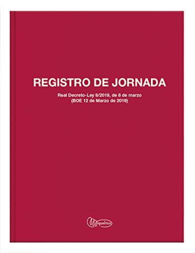 Miquel Rius - Libro Registro Horario Laboral - Español, 40 Hojas, Tamaño Folio, Papel 70 g