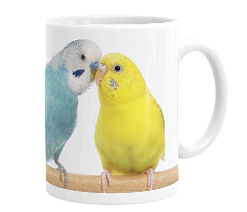 Merchandise for Fans Becher aus Keramik - 330 ml Motiv: Wellensittich blau und gelb Porträt (02)