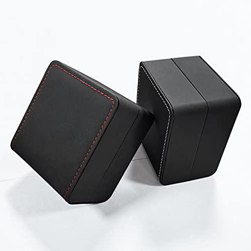 Caja De Regalo Negro Reloj Cuero Negro Línea Blanca