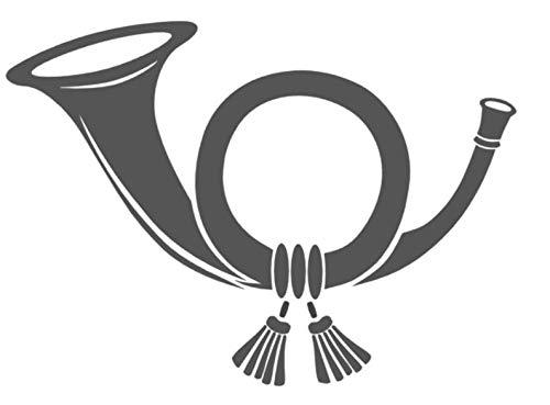 Generic Posthorn Aufkleber Briefkasten Aufkleber in 15cm, 20cm oder 25cm Länge (208/5) (20cm, schwarz Glanz)