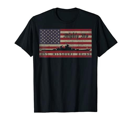 USS ミズーリ BB-63 戦艦 船 USA アメリカ国旗 Tシャツ