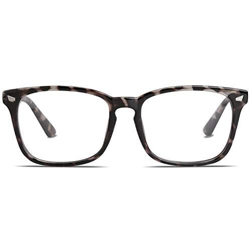 SOJOS Blue Light Blocking Glasses Square Eyeglasses Frame Anti Blue Ray Computer Game Glasses for Women Men Crazy Work SJ5028 with Brown Tortoise Frame/Anti-Blue Light Lens