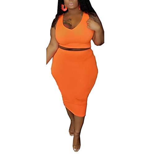 Womens Sexy Plus Size Solid Color Tanks Crop Top Bodycon 2 Pieces Long Midi Pencil Dresses Outfits Skirt Set Orange XL