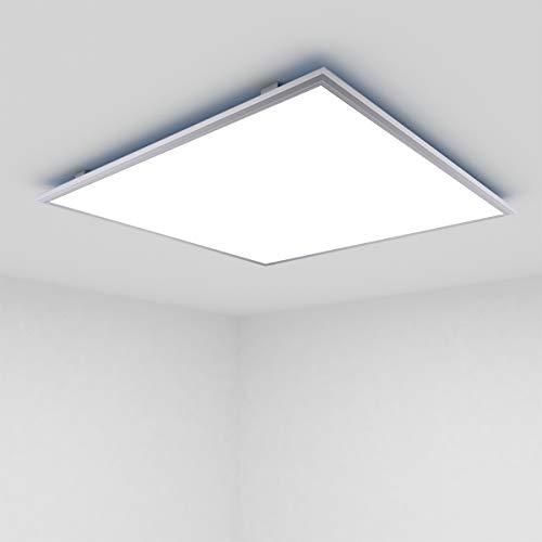 [Premium 108lm/W]OUBO LED Panel 62x62cm Naturweiß / 36W / 3900lm / 4000K / Silberrahmen Lampe dünn SLIM Ultraslim Deckenleuchte Pendelleuchte Wandleuchte, inkl. Trafo und Anbauwinkel