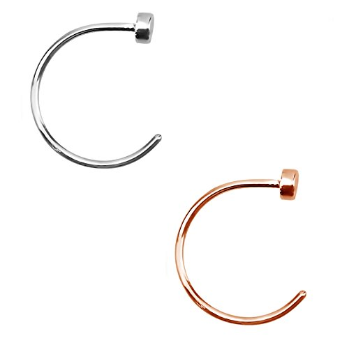 Forbidden Body Jewelry Nose Ring Hoop Surgical Steel Silver & Rose Gold Tone Comfort Fit Hinged Hoops 22g (8mm) 2pcs