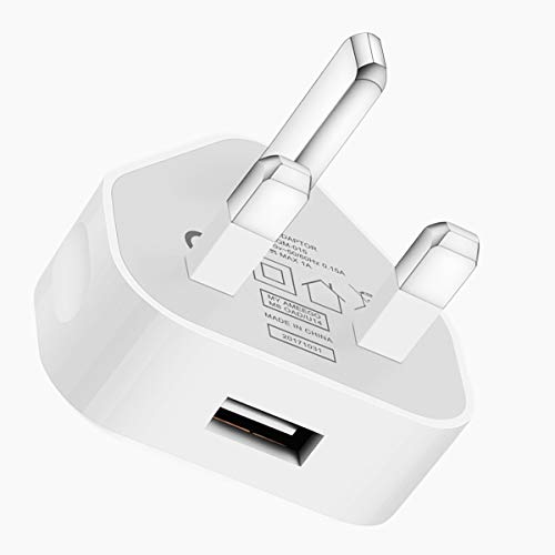 SLTX UK 3 Pin Plug USB Mains Charger Adapter, 1AMP 1000mAh Fast Speed Universal Travel USB Wall Charger for iPhone,iPad, iPod and Samsung Galaxy Tab, HTC, Tablet & USB Socket Devices (White)