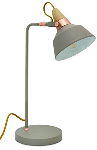 Lettura lamp Cloe EXO 680E-G04X1A-13 van staal met grijze steen en hout met draaibare lampenkap, diameter 16 cm, woonkamerlamp en Lettura laagschijnwerper voor binnenverlichting.