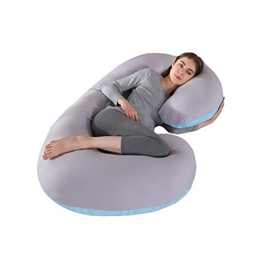 KINGSON Almohada Embarazada Dormir en Forma de C,Multifuncional Embarazo Almohada de Cuerpo Completo Mejorar Sueño con Funda Extraíble y Lavable (C Forma-Azul&Gris)