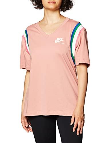 NIKE Camiseta para Mujer NSW Hrtg Rosa y Blanco. L