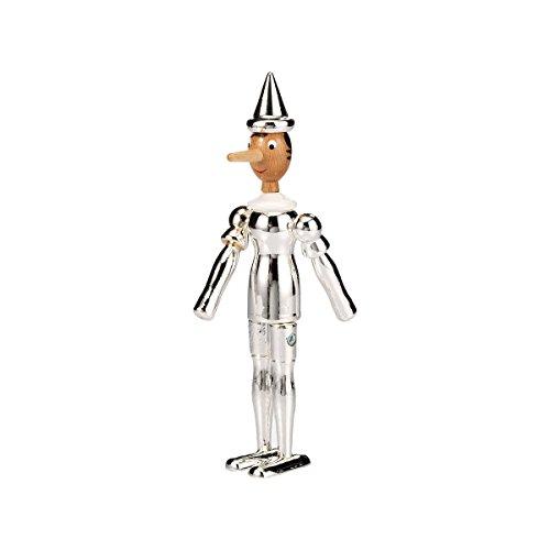 ARGENESI 0.00726 - Statuetta di Pinocchio, in legno smaltato, 24 cm, argento