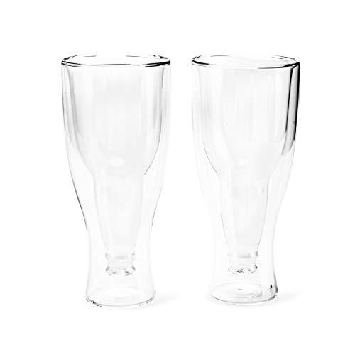 balvi Bierglas Gravity Set bestehend aus 2 Gläsern mit 400 ml Fassungsvermögen Doppelwandig Zum Kühlhalten In Form Einer umgedrehten Flasche Glas