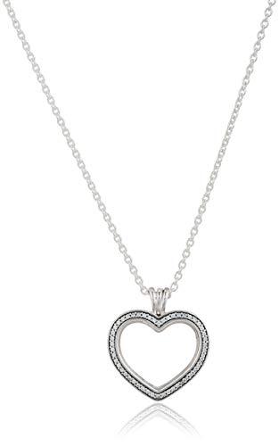 PANDORA Sparkling Floating Heart Locket Necklace 397230CZ60