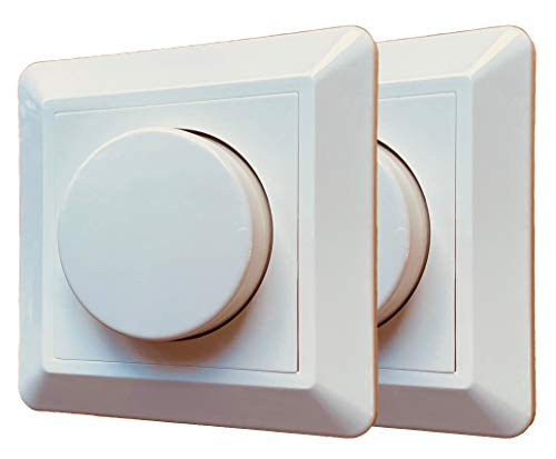 2x greenandco® gc-350 regulador de intensidad LED giratorio 1-350 W, también adecuado para circuitos con conmutador, función de disparo programable, empotrable, blanco