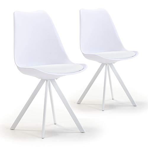 VS Venta-stock Set de 2 sillas Comedor Cross Estilo nórdico Blanco, certificada por la SGS, 54 cm (