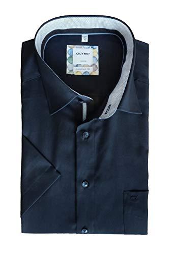 OLYMP Herren Comfort Fit Luxor Kurzarm Uni   New Kent   Reine Baumwolle   Kobalt Gr. 43