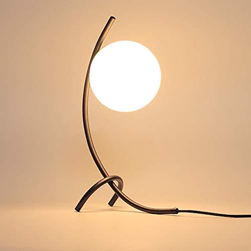 WZHZJ Lámpara de Mesa de Bola de Vidrio de latón con Curva geométrica, lámpara de Mesa Decorativa para el hogar, Estudio, Dormitorio, mesita de Noche, luz LED Moderna para Dormir para niños