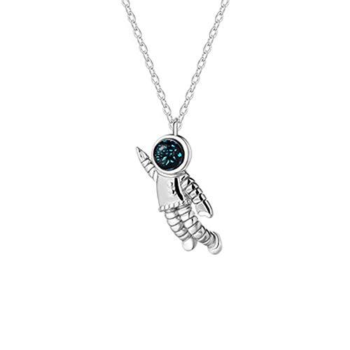 Collar De Mujer 925 Sterling Silver, Space Creative Astronauta Atronauta Casco Azul Único Colgante con Un Regalo del Collar para La Madre Grilfriend, 1Pcs