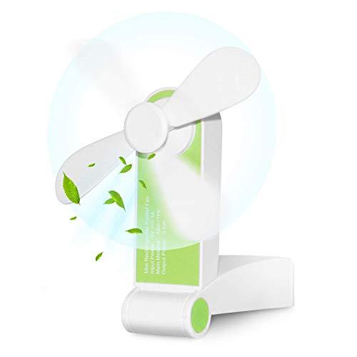 Bornran Tragbarer Mini Lüfter Klein Faltbarer Handventilator Wieder aufladbarer persönliche Taschenventilator Batterie betriebener Reise Ventilator USB Schreibtisch-Fan für Büro, Haus, Outdoor (Grün)