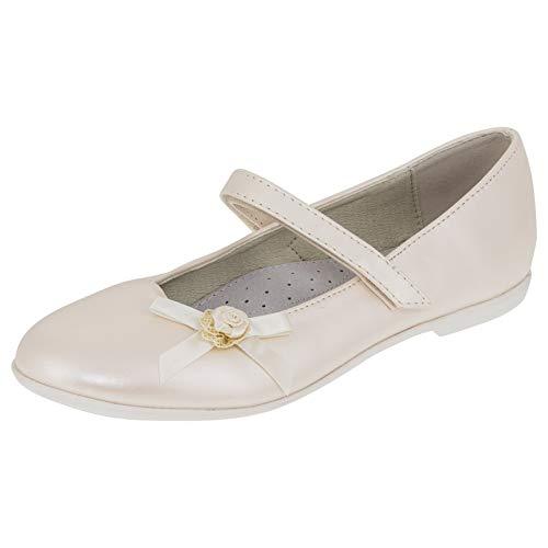 Giardino Doro Edle Festliche Kinder Mädchen Schuhe Ballerinas mit Leder Innen Sohle mit Klettverschluss M525pews Perlmutt Weiß 36 EU