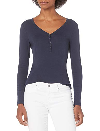 Amazon Essentials Women's Ribbed Knit Long Sleeve Henley Slim Fit T-Shirt, Navy, Medium