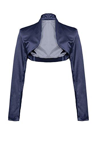 Elegante bolero a maniche lunghe in raso Dunkel Blau XL