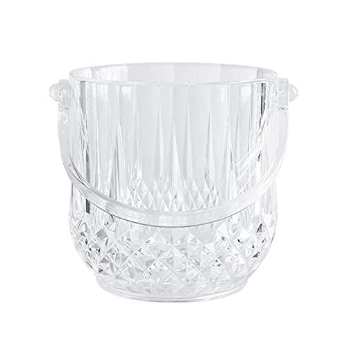 DSFSAEG Secchiello per il ghiaccio in acrilico con pinze per cubetti di ghiaccio, birra e bottiglie di champagne, congelate bottiglia refrigerante secchiello del ghiaccio