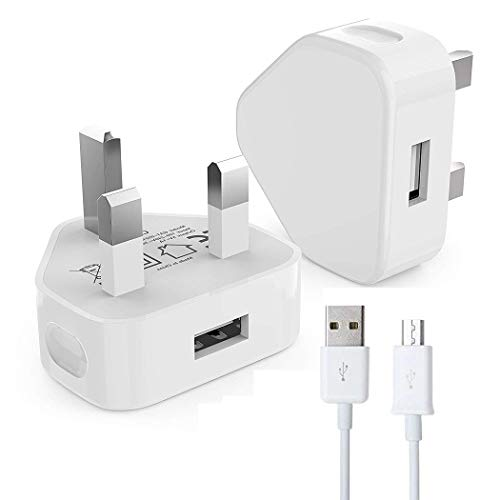 *[ 2 Pack ] USB Phone Charging Cable 1 Meter, Android Charger Lead Micro Compatible For Samsung Galaxy J3 J5 J7 2017 2018. S7/S6/S5 Sony Nokia PS4 Controller Fast Charger (2 Pack 1 Meter, White)