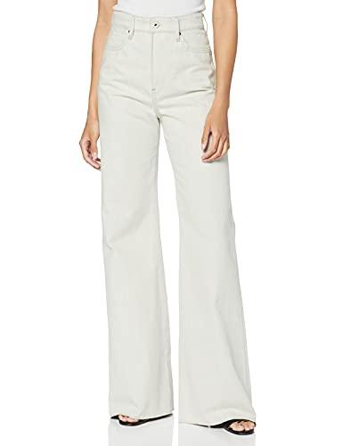 G-STAR RAW Deck Ultra High Waist Wide Leg Jeans, Beige (Ecru C777-159), 26W x 28L Donna