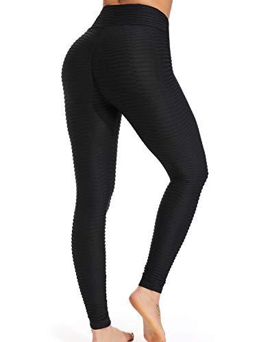 FITTOO Leggings Push Up Mujer Mallas Pantalones Deportivos Alta Cintura Elásticos Yoga Fitness #2 Negro Chica