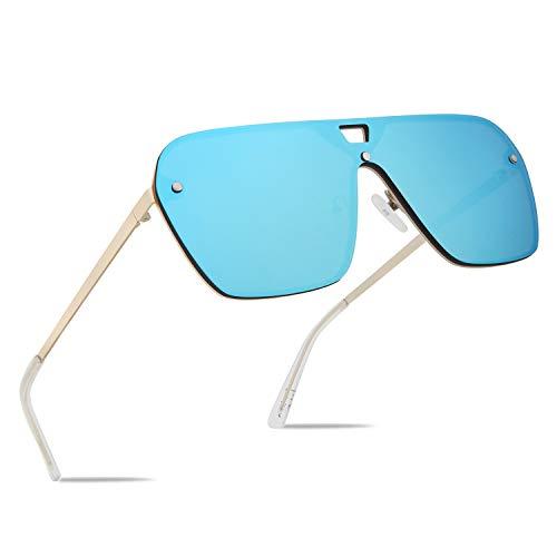 FaceWear Gafas de sol sin montura con espejo de gran tamaño de una pieza sin marco gafas de los hombres y las mujeres FW1019, C5-espejo Azul, Normal