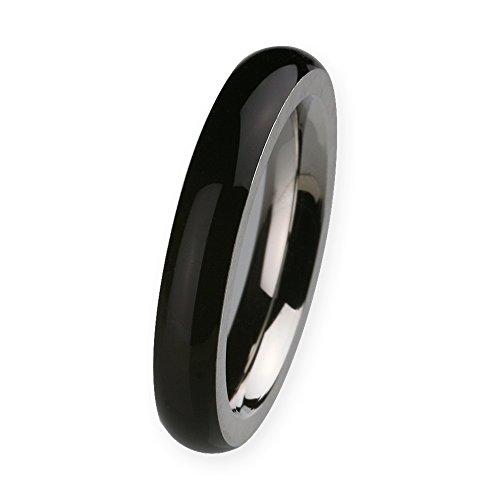Ernstes Design Vorsteckring, ED vita Ring, Beisteckring, Ring aus Edelstahl mit Keramikauflage schwarz 4mm R273 (57 (18.1))