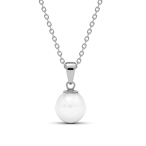 Silber Anhänger Pure Pearl | 925 Sterling Silber | Vergoldet mit 18K Weißgold | Kette 40 + 5 cm | Mit Perle