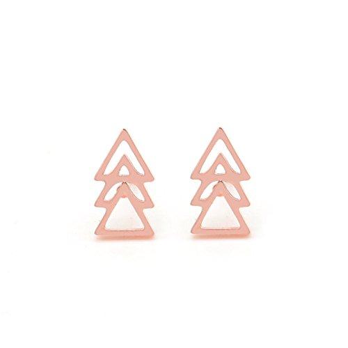 Musthaves Dames Oorbellen Driehoekjes Earrings Triangles -RVS 1x0,5 cm Roségoudkleurig
