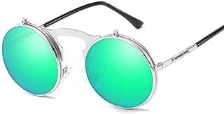 SGJFZD Men and Women Retro Flip Polarizer Sunglasses Metallic Sunglasses Aolly Outdoor Seaside Sunscreen UV400 (Color : Silver Frame Green Mercury)