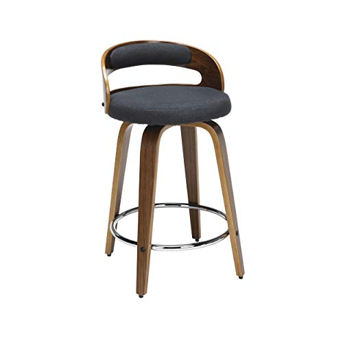 OFM 161 Collection Mid Century Modern 24' Low Back Bentwood Frame Swivel Seat Stool with Fabric Back and Seat Cushion, in Walnut/Navy