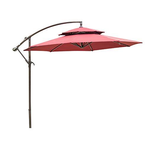 MENG 2,7 M Sonnenschirm Im Freien Praktische Aufbewahrung Gartenschirm Anti-Ultraviolett-Sonnenschirm Bananenschirm Hofschirm Sonnenschirm Werbeschirm Strandauto-Regenschirm,Maroon