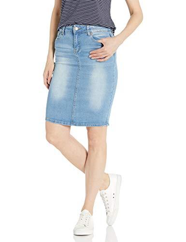 CG JEANS Junior's Stretch Denim Mini Jean Skirts Basic Five Pocket, Light Wash, Medium