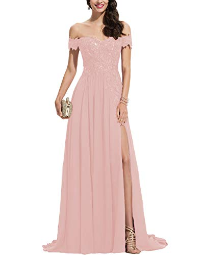 Noras dress Blush Pink Long Prom Dresses with Lace Appliques Chiffon Split Formal Evening Gowns for Women Blush Pink 6 (Apparel)