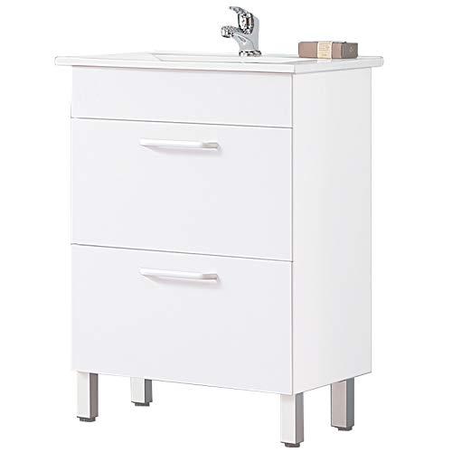 Aica Sanitär Waschtisch mit Unterschrank 60 cm Boise 01 Standschrank Badmöbel Set 2× Schubladen Gäste WC Weiß