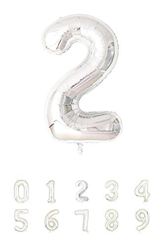 Globos de Cumpleaños Número 2 Plateado -  100cm -  Globo de cumpleaños -  Grandes para fiestas cumpleaños aniversario,  comunión boda plata 2 años gigante